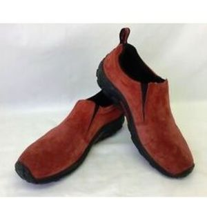 Merrell Loafer Red Suede Leather Slip Resistant 10